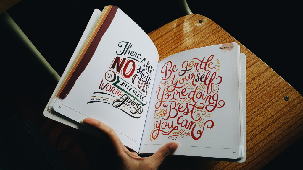 Some of Abbey Sy's illustrations showcasing how to combine different font styles and laying out the words and other decorative details.